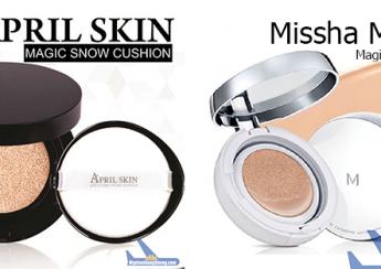 So sánh phấn nước April Skin và phấn nước Missha