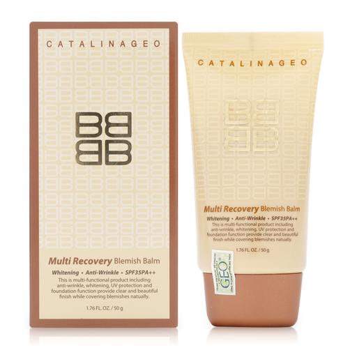 KEM NỀN CATALINA GEO MULTI RECOVERY BLEMISH BALM được chiết xuất từ thành phần chủ đạo là các thảo dược, thành phần tạo Collagen và Vitamin E, phù hợp với mọi loại da.