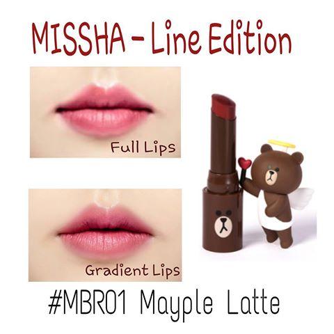 Son môi màu hồng đất của Missha Line Friends Matte Lip Rouge (Màu MBR01 Maple Latte)