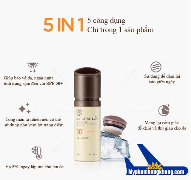 Kem chống nắng natural sun eco ice air puff sun Spf50+/PA +++