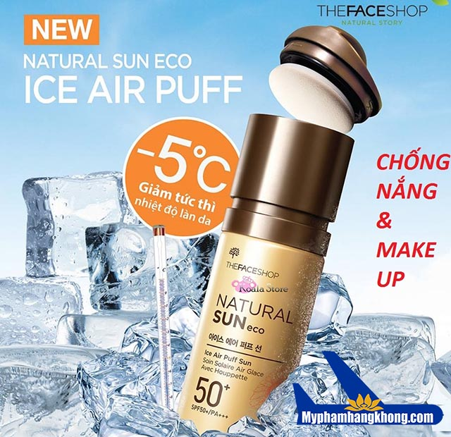 Kem chống nắng natural sun eco ice air puff sun
