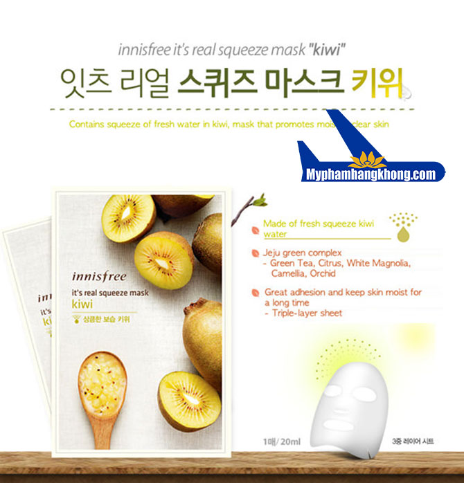Mặt-Nạ-Innisfree-It's-Real-Squeeze-Mask-Kiwi