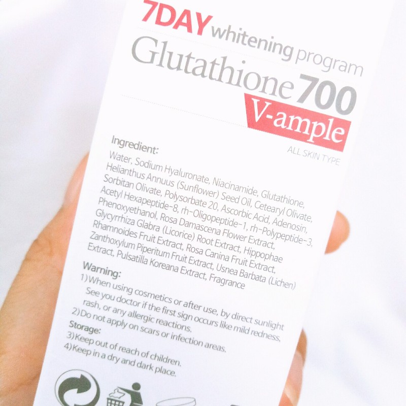 Tinh chat trang da 7 Day Whitening Program Glutathione 700 V-Ample